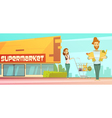 Supermarket Shopping Outdoor Retro Cartoon Poster vector image
