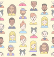linear flat people faces seamless pattern vector image