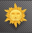 antique golden sun face crown of flames realistic vector image