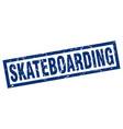 square grunge blue skateboarding stamp vector image