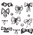 Set of bows hand drawn vector image vector image