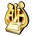 Harp Gold award statuette vector image