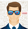 Infographic business man face arrow shape vector image vector image