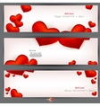 set of three banners with red hearts valentines da vector image