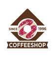 coffee shop since 1996 emblem with sweet donut vector image