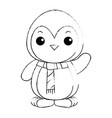 cute penguin with christmas scarf kawaii vector image
