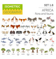 flat 3d isometric africa flora and fauna map vector image
