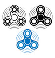 set of fidget spinner in three different types vector image