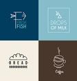 Set of Thin Line Design Logotype Templates Fresh vector image