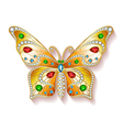 Jewelry gold butterfly in gems Beautiful decoratio vector image