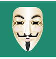 Anonymous mask isolated on green Mysterious person vector image