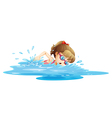 A girl wearing a pink swimwear swimming vector image vector image