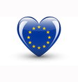 Heart-shaped icon with national flag of Europe vector image vector image