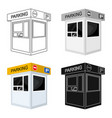 parking toll booth icon in cartoon style isolated vector image