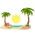 Beach chaise longue under palm tree Summer vector image