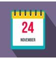 Calendar november 24 flat icon with shadow vector image