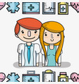 professional doctors with medical elements vector image