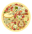 set of pizza ingredient icon vector image
