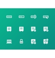 Password icons on green background vector image vector image