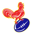 rooster cockerel on top of rugby ball vector image