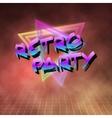 Retro Party 1980 Neon Poster Retro Disco 80s vector image