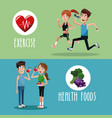 brochure exercise food healthy vector image