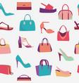fashion women bags handbags and high heels shoes vector image