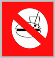 No food and drink sign on white background vector image