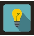 Light bulb with sprout icon flat style vector image