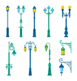 Detailed Vintage Street Lamps and Lantern Set vector image
