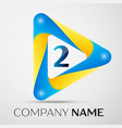number two symbol in the colorful triangle vector image