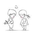 Shying boy and girl hand drawing vector image