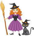 Witch with broom and kitty vector image vector image