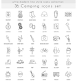 Camping ultra modern outline line icons for vector image