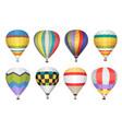 hot air balloon icons set vector image