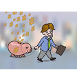 Money falling in hole on back of pink piggy bank vector image