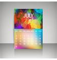 Polygonal 2016 calendar design for JULY vector image