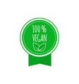 round vegan eco bio green badge with leaf vegan vector image
