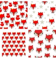 Set of seamless pattern with cute foxes vector image