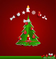 Christmas greeting card with christmas tree and vector