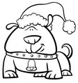 dog on christmas coloring book vector image vector image