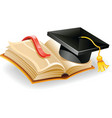 graduation cap and open vector image vector image