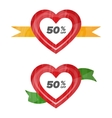 Hearts icons with discount vector image
