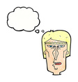 cartoon angry face with thought bubble vector image