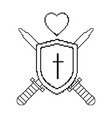 pixelated shield with sword and heart game icon vector image