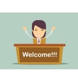 Smiling woman welcome you vector image