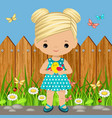 sweet girl with a bird in his hands vector image