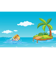 A girl swimming near an island with a coconut tree vector image