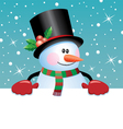 snowman holding blank paper vector image