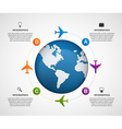Abstract global airplane infographics design vector image